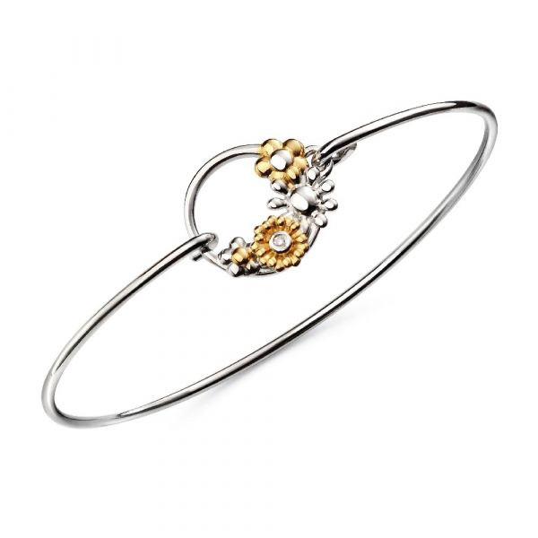D For Diamond Floral Gold Plated Bangle