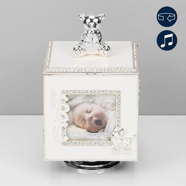 Silver Plated Rotating Photo Frame Music Box