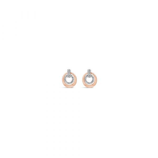 Absolute Jewellery Two Tone Earrings (Rose & Silver)