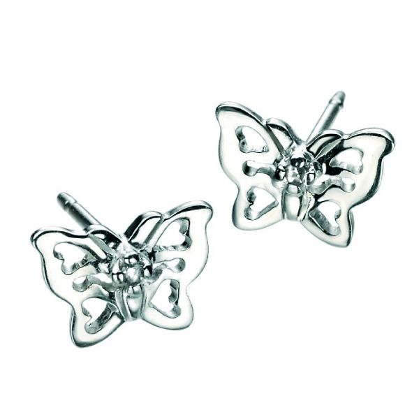 D For Diamond Butterfly Stud Earrings