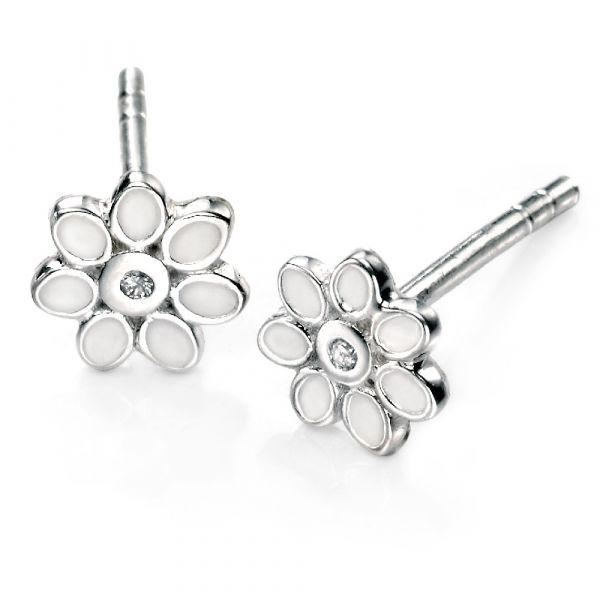 D For Diamond White Enamel Flower Stud Earrings