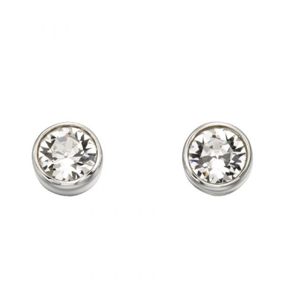 Swarovski Crystal Sterling Silver Stud Earrings