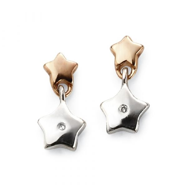 D For Diamond Gold Plated Star Drop Earrings