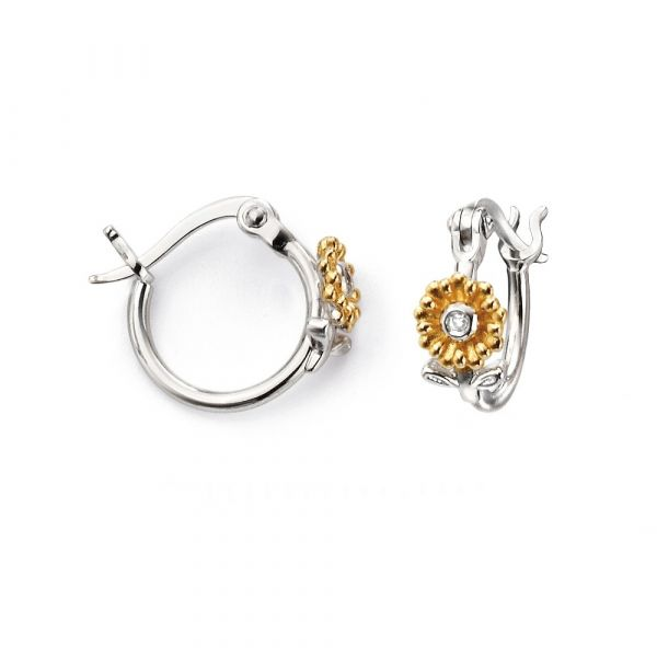 D For Diamond Gold Plated Floral Hoop Earrings