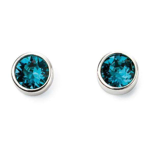 Swarovski Blue Zircon Crystal Sterling Silver Stud Earrings