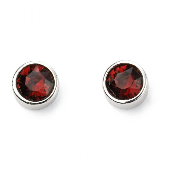 Signature Silver January Birthstone Earrings (Burgundy)