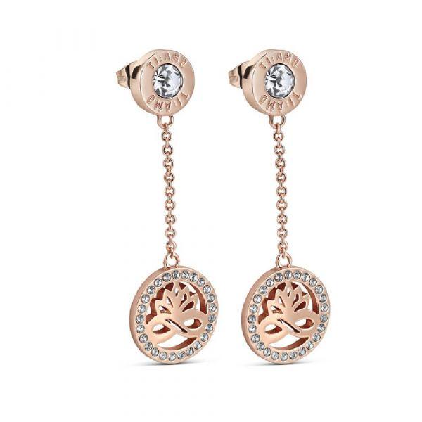 Newbridge Silver Rose Goldplate Earring Clear Stones