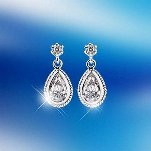 Newbridge Silver Earrings Clear Crystal Stone