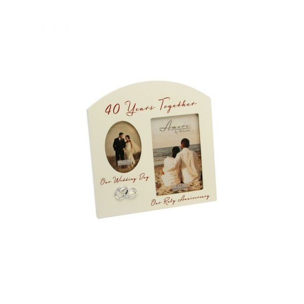 Amore Double Aperture Photo Frame - 40 Years Anniversary