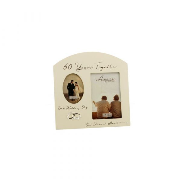 Amore Double Aperture Photo Frame - 60 Years Anniversary