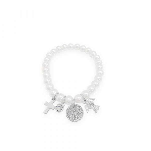 Sterling Silver Cross Pearl Charm Bracelet by Absolute Jewellery