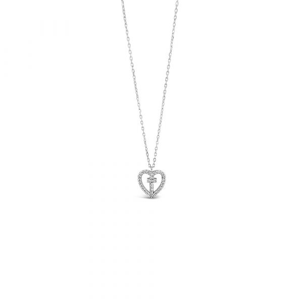 Sterling Silver Cross in Heart Pendant by Absolute Jewellery