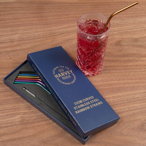 Set Coloured Stainless Steel Drinking Straws