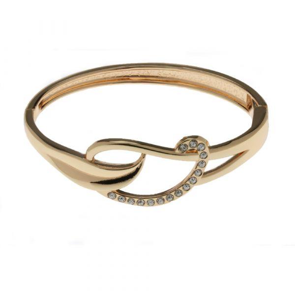 Indulgence Gold & Diamante Spring Bangle