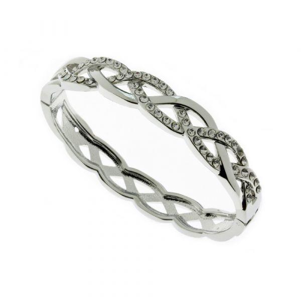 Indulgence Silver & Diamante Plaited Bangle
