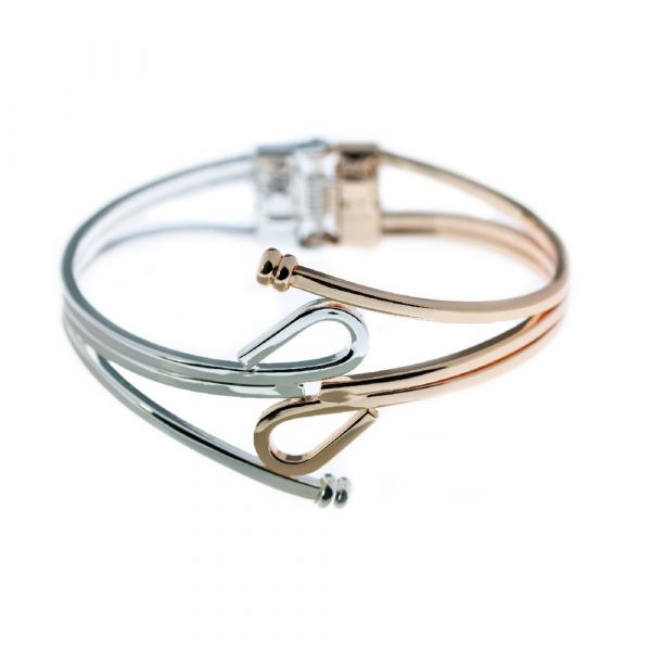 Indulgence Silver & Rose Gold Spring Bangle