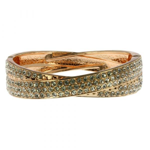 Indulgence Rose Gold & Diamante Spring Bangle