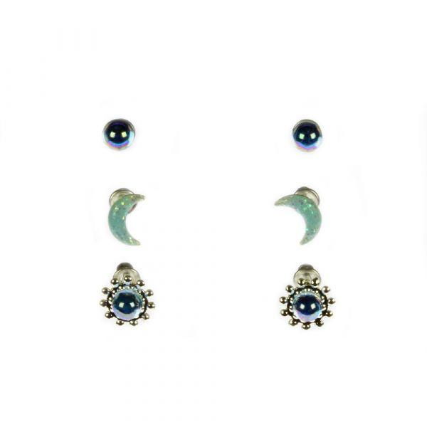 Indulgence Silver/Blue Bead/ Mood Earrings (Set of 3)