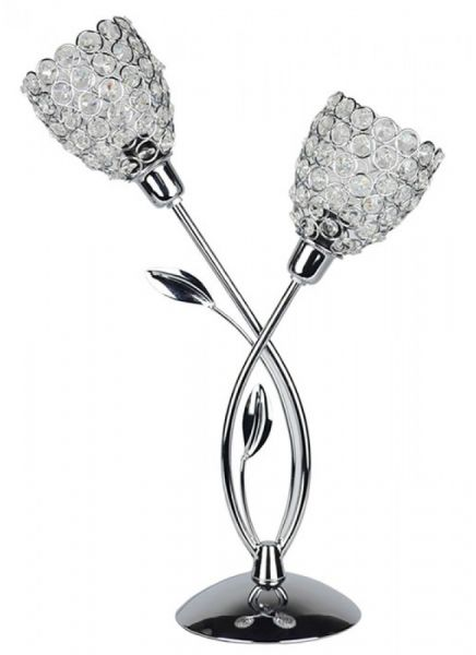 Silver Tulip Lamp with Crystals 45cm