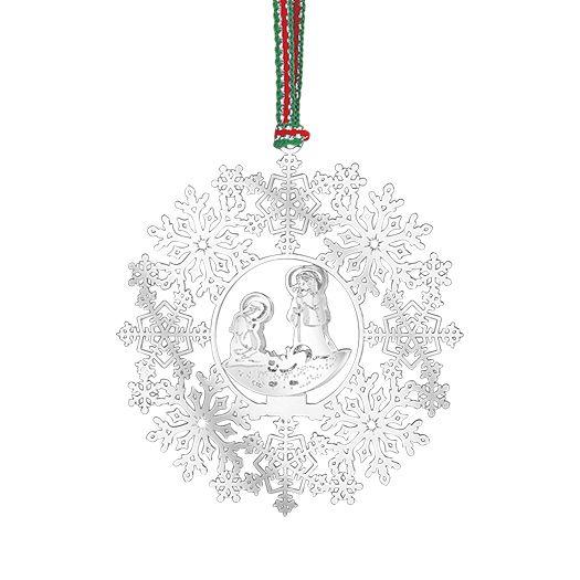 Newbridge Silverware Snowflake With Nativity Decoration
