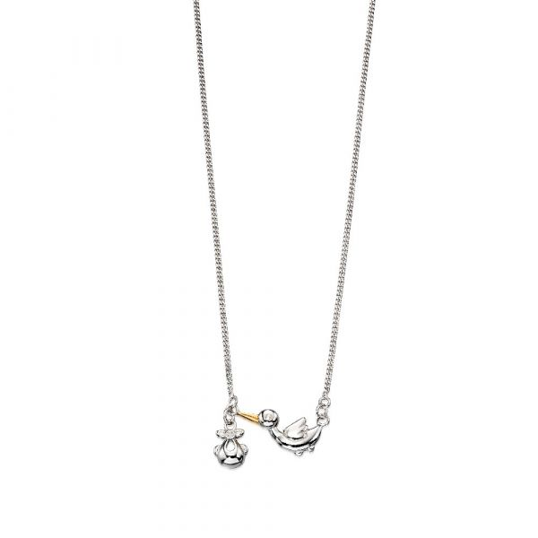 D For Diamond Stork & Baby Necklace