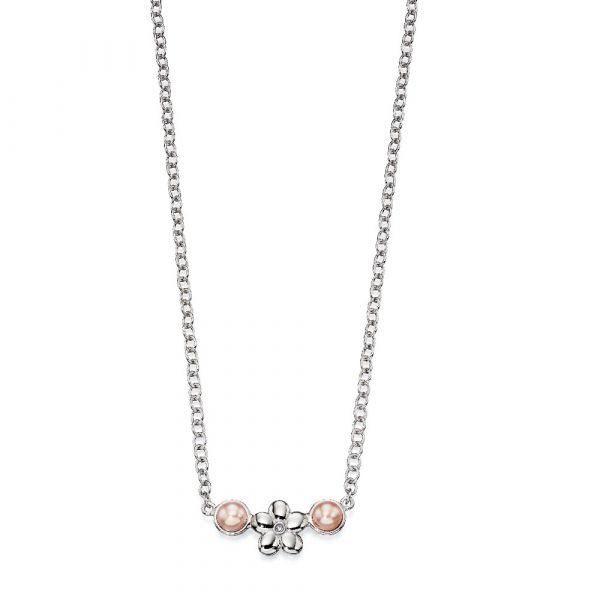 D For Diamond Rose Pearl Flower Necklace