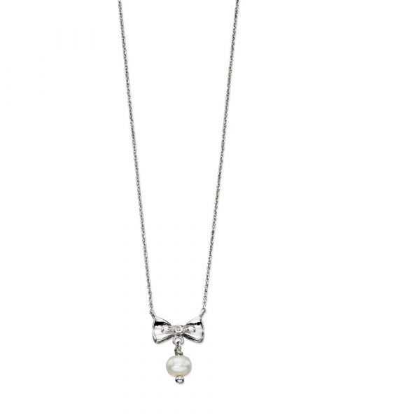 D For Diamond Bow & Pearl Necklace
