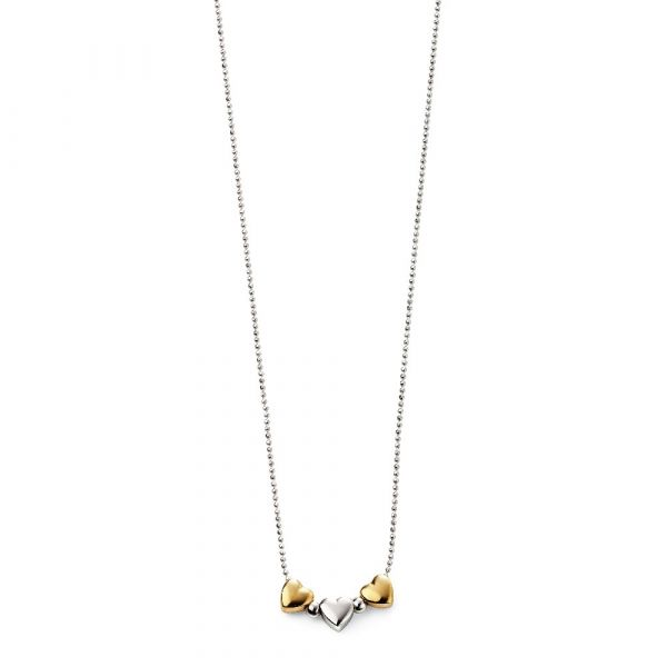D For Diamond Gold Plated Triple Heart Necklace