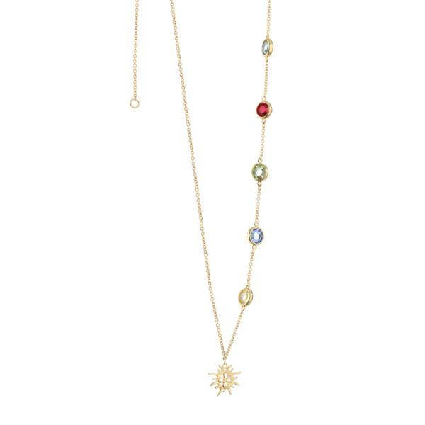 Newbridge Silver Necklace with Multi Coloured stones