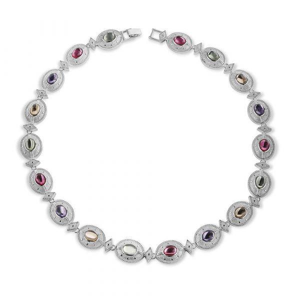 Newbridge Silver Necklace Multi Coloured Stone