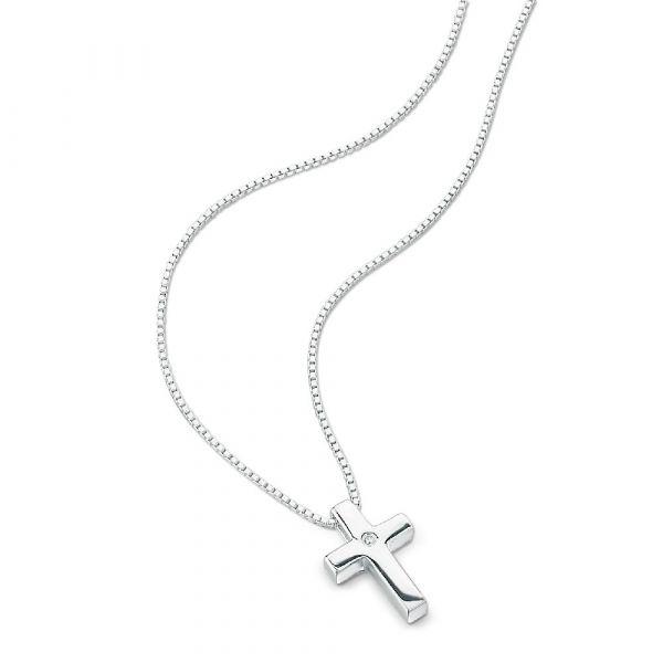 D For Diamond Set Plain Cross Pendant