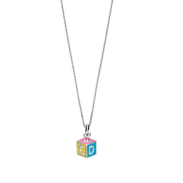 D For Diamond ABC Enamel Cube Pendant