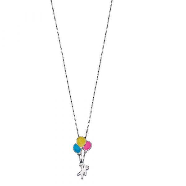 D For Diamond Child & Balloons Enamel Pendant
