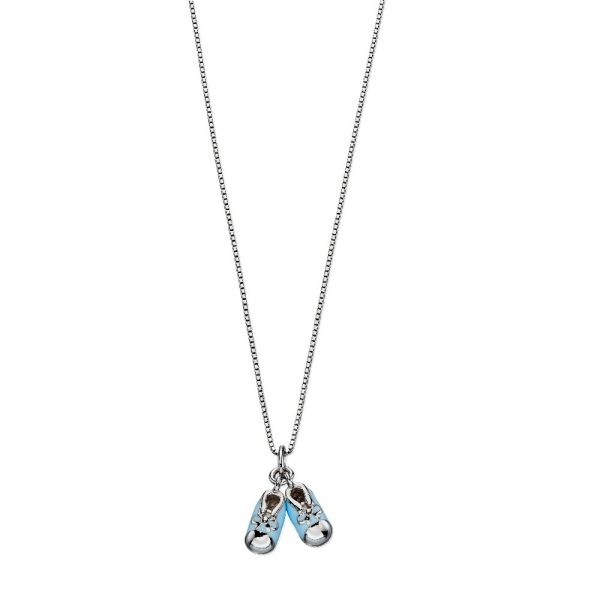 D For Diamond Blue Baby Booties Enamel Pendant