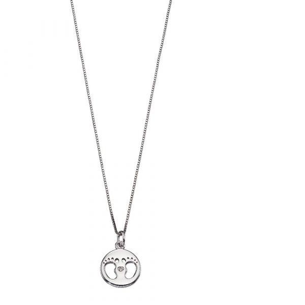 D For Diamond Footprint Metal Pendant