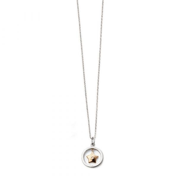 Diamond Gold Plated on Sterling Silver Star Drop Pendant