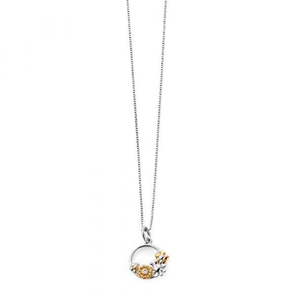 D For Diamond Gold Plated Floral Circle Pendant