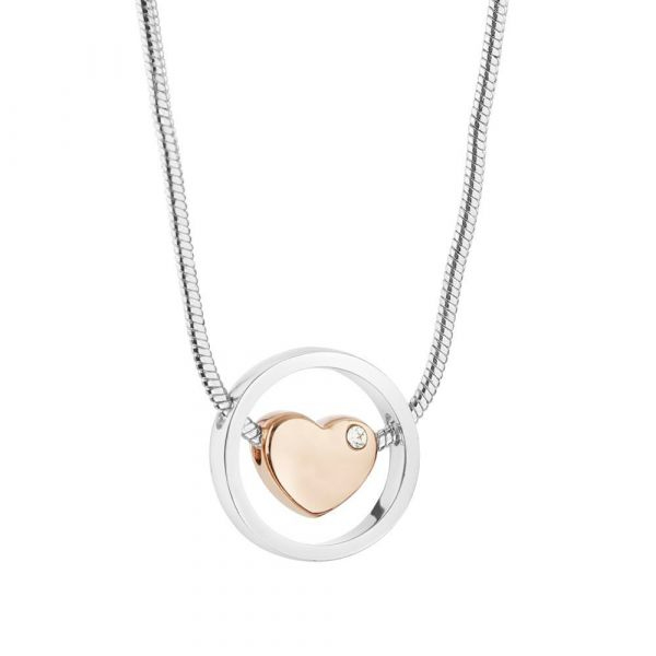 Newbridge Silver Plated Pendant With Rose Gold Plated Heart And Clear Stone