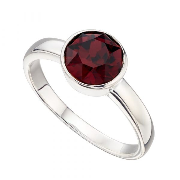 Swarovski Burgandy Crystal Sterling Silver Ring Size 56