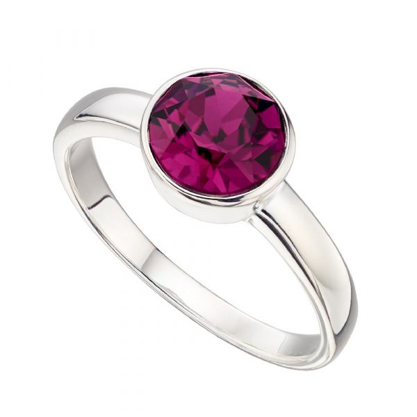 Signature Silver February Birthstone Ring Size 54  (Amethyst)