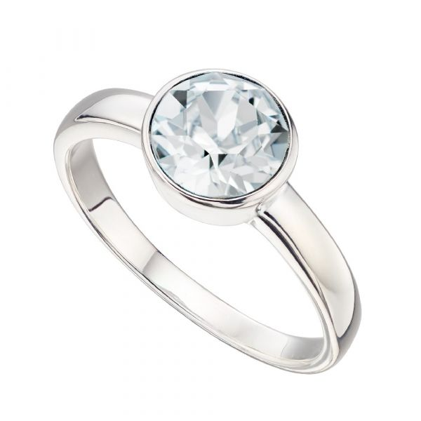 Signature Silver April Birthstone Ring Size 56  (Crystal)