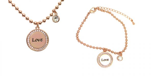 Kilkenny Silver Love Rose Gold Charm Pendant & Bangle Set