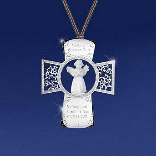 Newbridge Silverware Cross With Angel Ornament