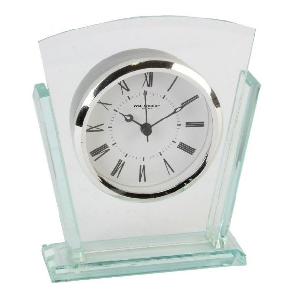 GLASS BEZEL MANTEL CLOCK 15CM