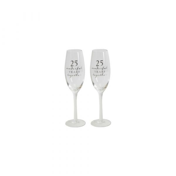 25th Anniversary Amore Champagne Flutes (Set of 2)