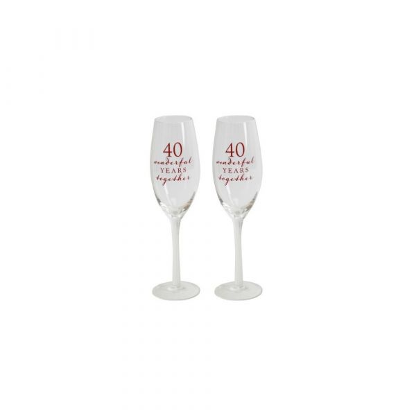 40th Anniversary Amore Champagne Flutes (Set of 2)