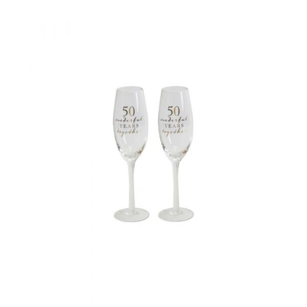 50th Anniversary Amore Champagne Flutes (Set of 2)