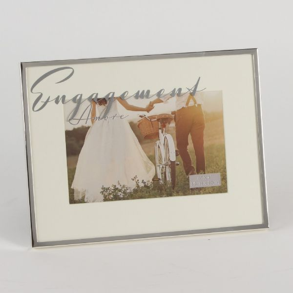 Amore Silverplated Mirror Script Engagement 6x4 Frame