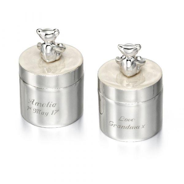 D For Diamond Teddy Bear Tooth & Curl Pots