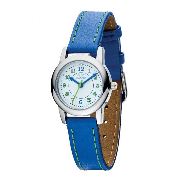 D For Diamond Watch With Blue Strap